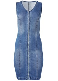 Alternate View Zip Detail Denim Dress