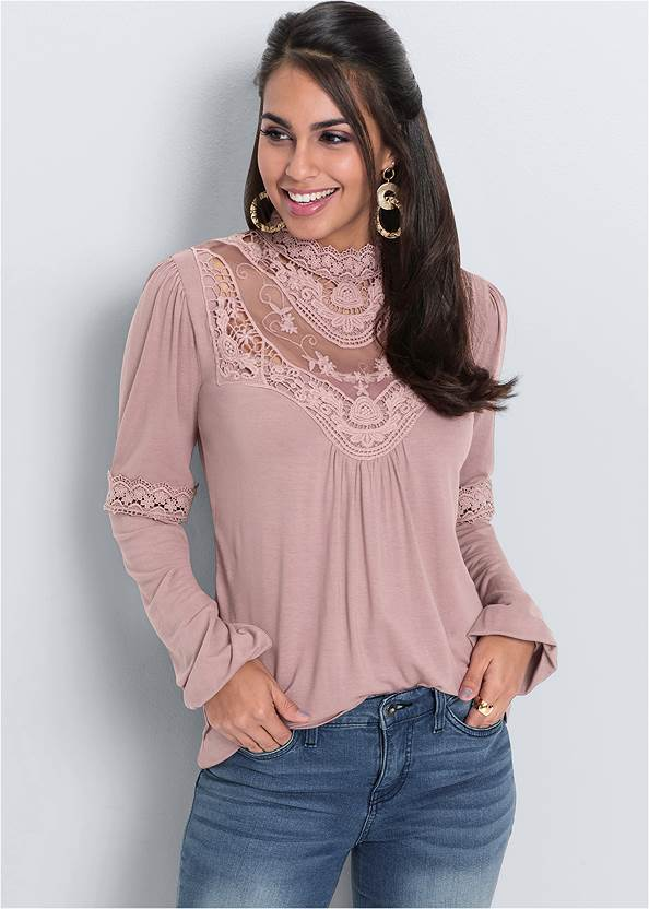 Cropped front view Lace Detail Top