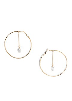 pearl detail hoop earrings