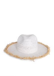 Flatshot  view Color Block Straw Hat