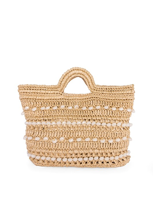 WOVEN BEADED CLUTCH,COLD SHOULDER LACE TOP,TRIANGLE HEM JEANS,BEADED HOOP EARRINGS,COLOR BLOCK STRAW HAT