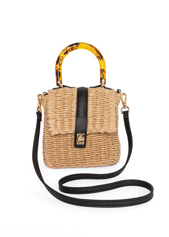 Wicker Straw Bag,Ruched Asymmetrical Top,Block Heels