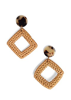 square raffia earrings
