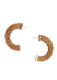 Flatshot  view Raffia Hoop Earrings