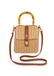 Flatshot front view Wicker Straw Bag