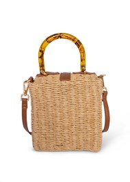 Flatshot back view Wicker Straw Bag