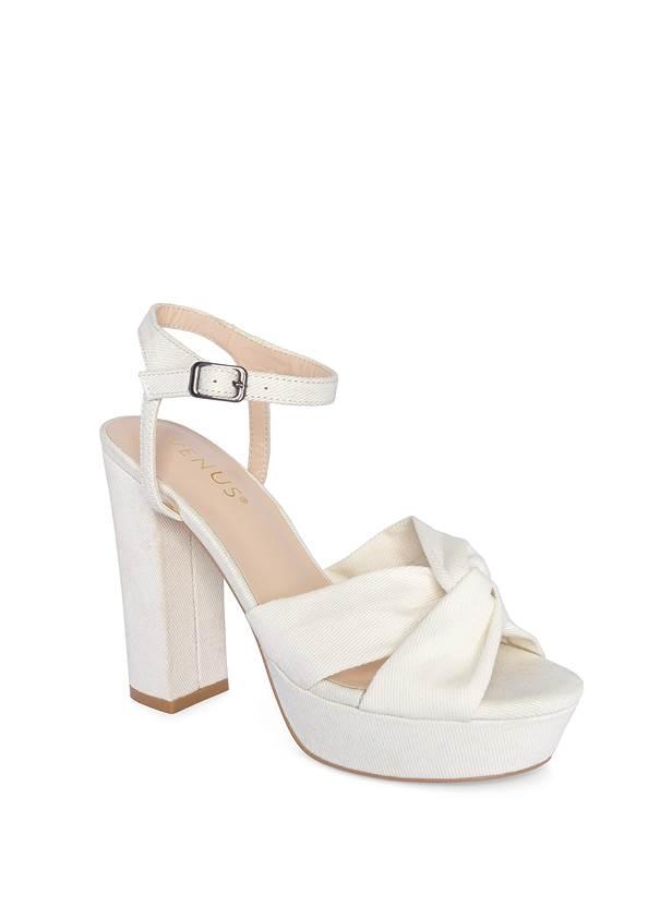 Platform Block Heels,Seamless High Neck Top,Beaded Fringe Earrings
