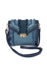 Flatshot front view Denim Handbag