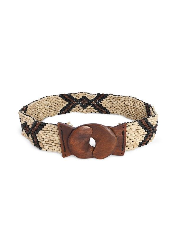 Beaded Stretch Belt,Strapless Palm Print Romper,Raffia Hoop Earrings,Wooden Handbag