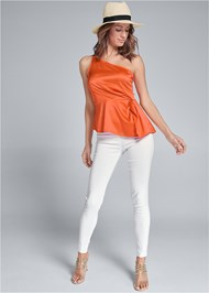 Full front view One Shoulder Satin Top