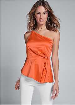 one shoulder satin top