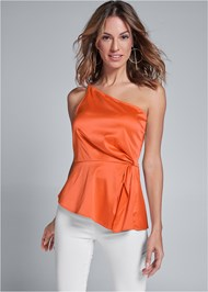 Front View One Shoulder Satin Top