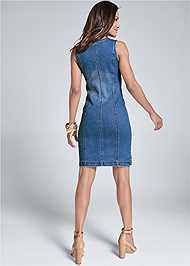 Alternate View Zip Detail Denim Dress
