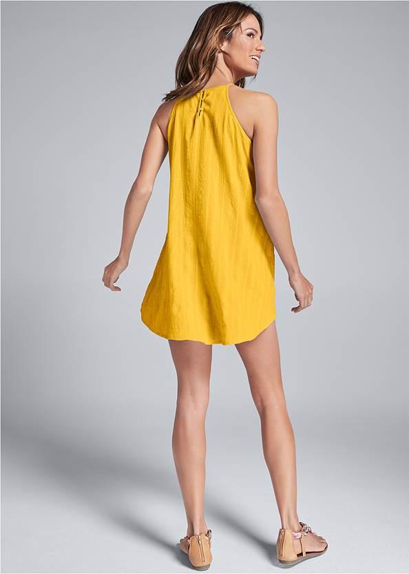 Back View A-Line Lace Trim Dress
