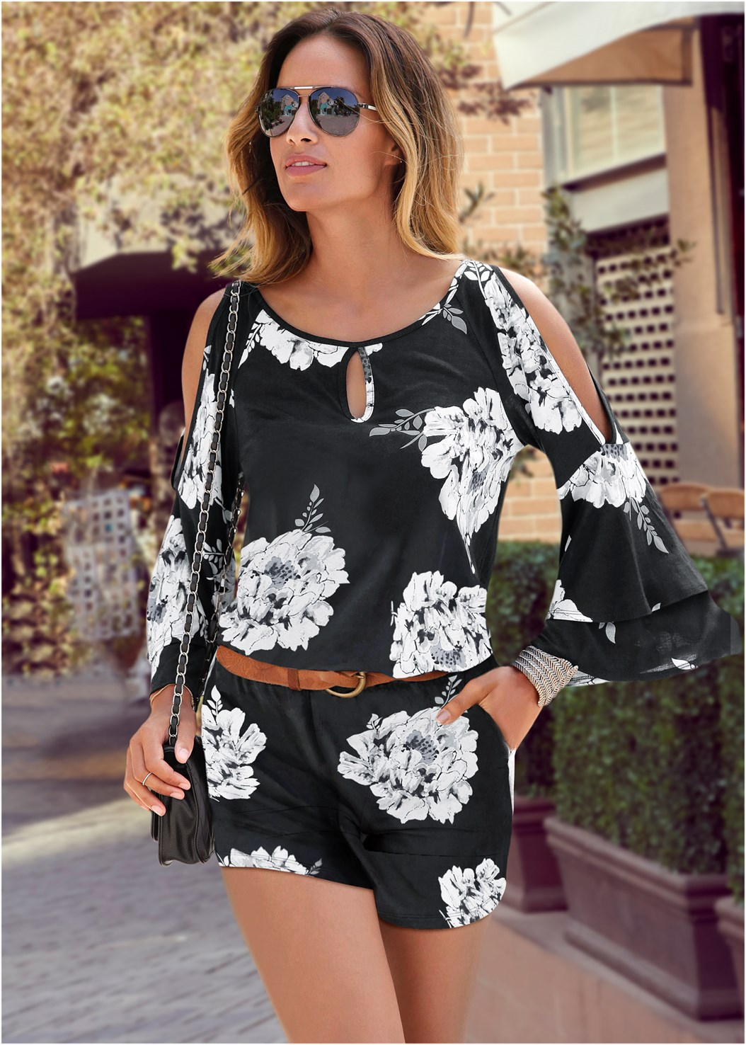 Cold Shoulder Floral Romper,Strapless Bra With Geo Lace,Peep Toe Booties,Studded Matte Hoops