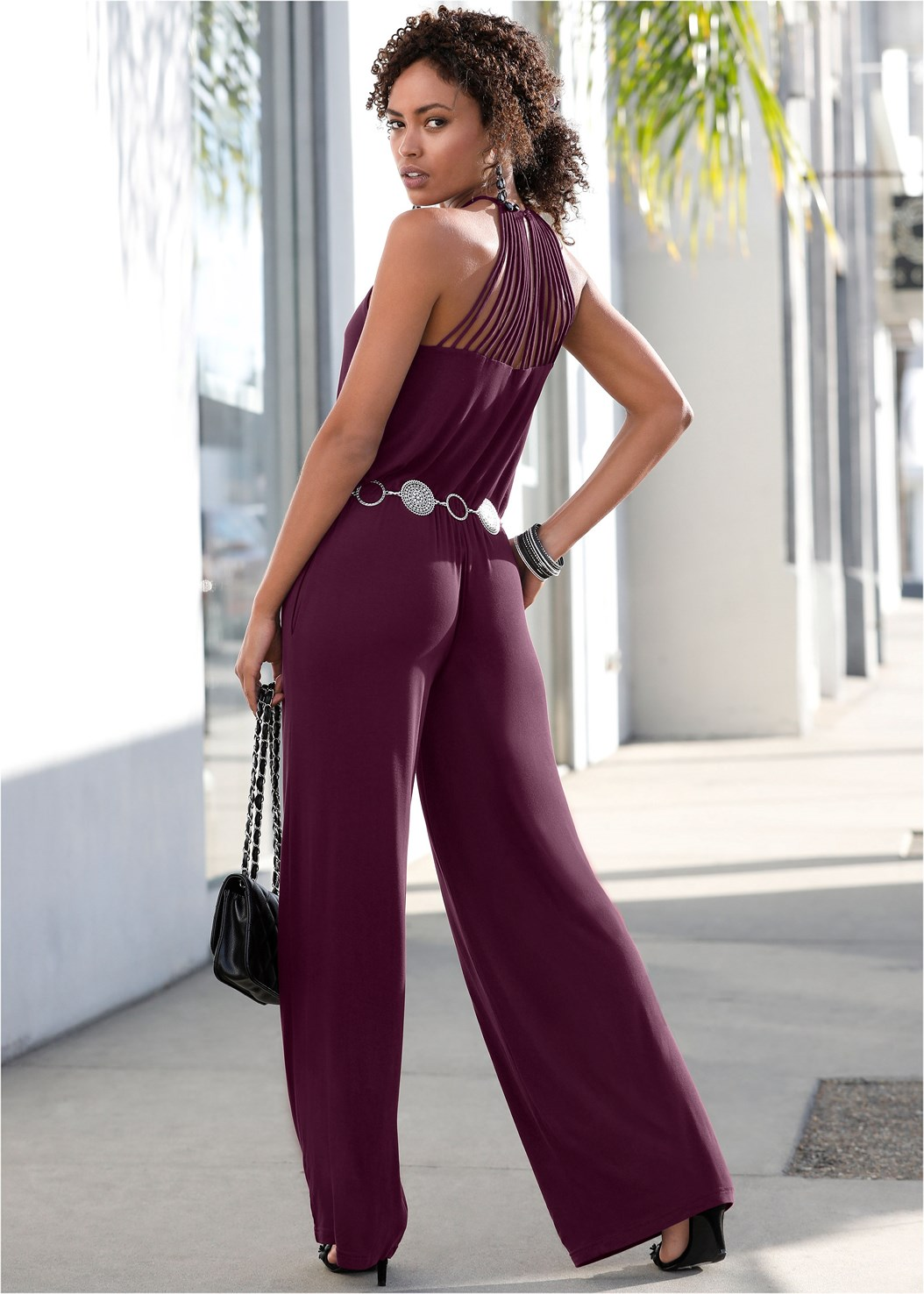 Strappy Back Jumpsuit,Peep Toe Print Heels,Studded Matte Hoops