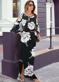 Front View Floral Maxi Dress