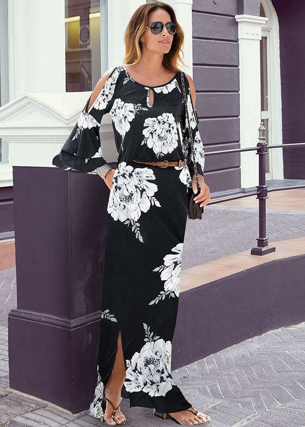 Floral Maxi Dress,Ankle Strap Heels,Peep Toe Booties,Faux Suede Fringe Belt Bag