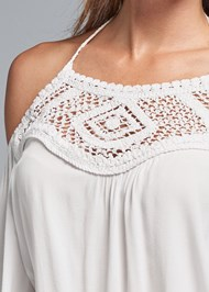 Alternate View Lace Detail Bell Sleeve Top