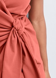 Detail front view French Terry Wrap Dress