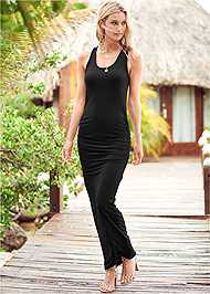 Front View Ruched Tank Maxi Dress
