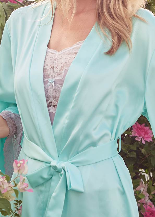 Detail front view Satin And Lace Detail Robe