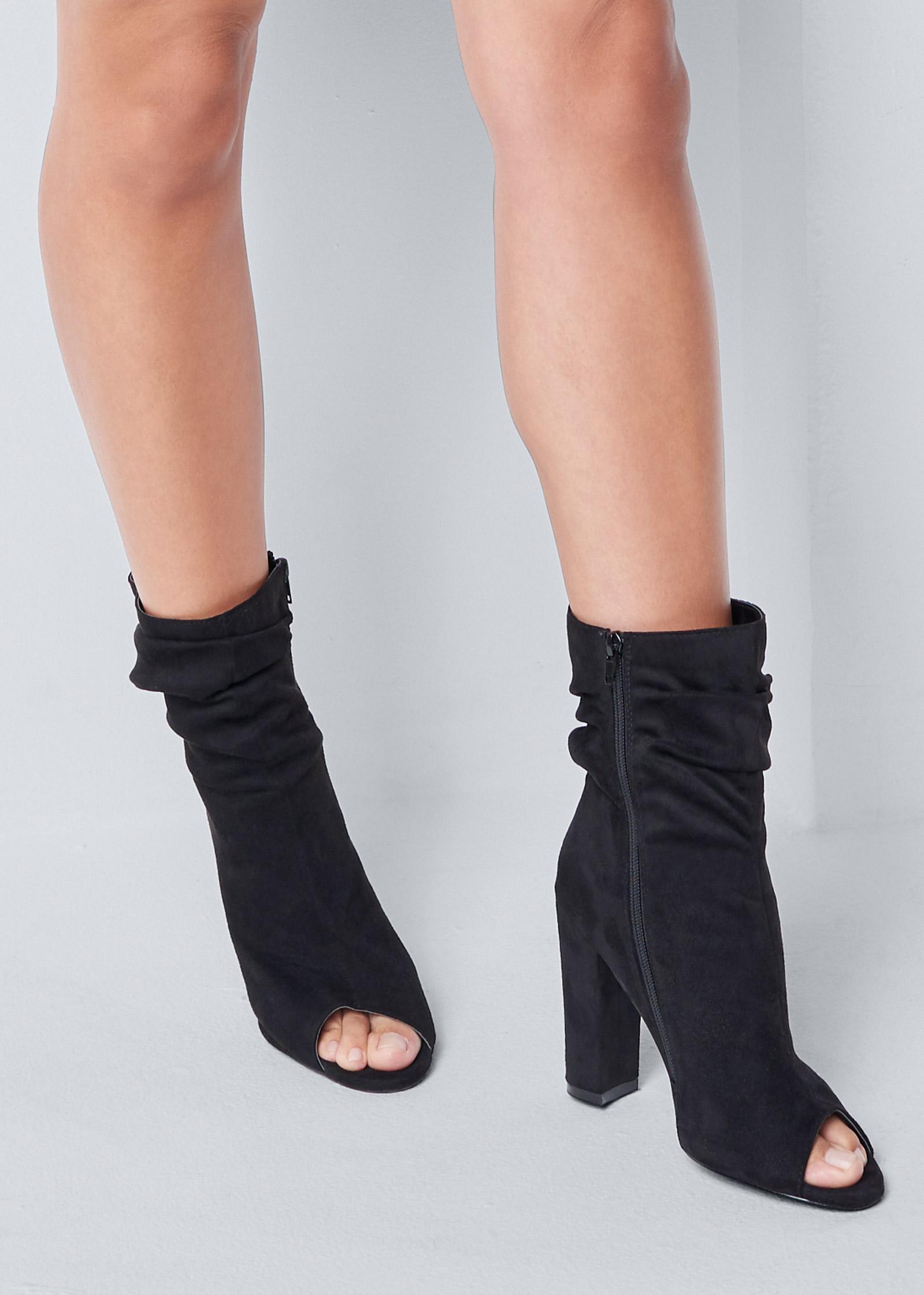 Peep Toe Booties in Black | VENUS