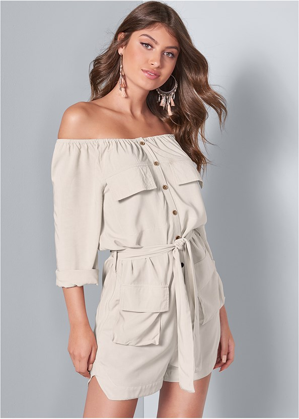 Off Shoulder Utility Romper,Lucite Detail Print Heels,Embellished Lucite Heel,Tassel Detail Hoop Earrings