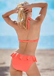 Back View Underwire Ruffle Halter Top