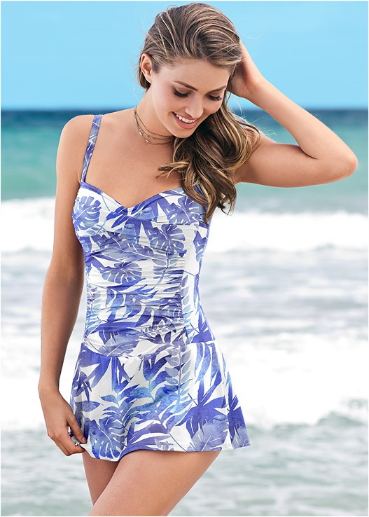 SLIMMING SKIRTED ONE-PIECE,TIE DYE FLOW COVER-UP DRESS