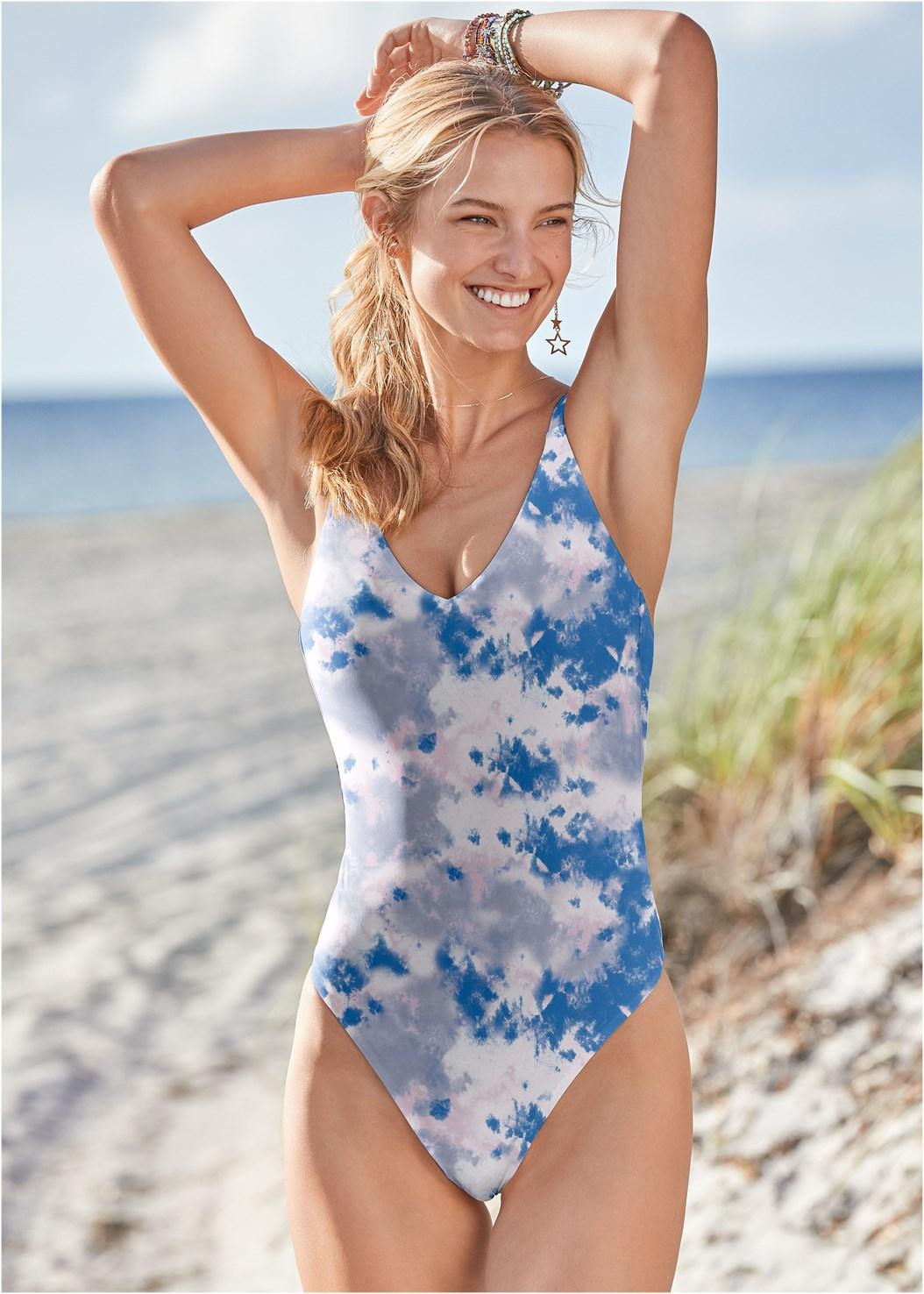 Leslie One-Piece,Fishnet Hooded Cover-Up,Embellished Slides