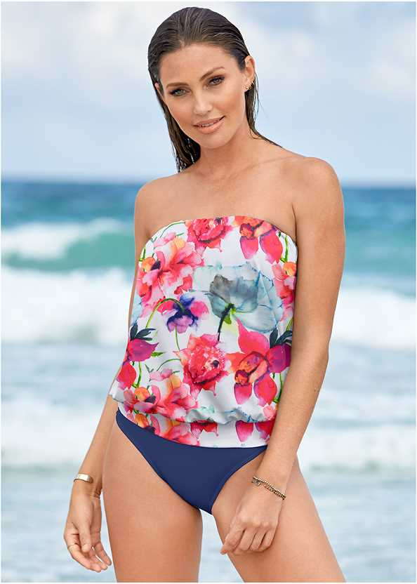 Blouson Bandeau Tankini Top,Mid Rise Hipster Classic Bikini Bottom,Full Coverage Mid Rise Hipster Bikini Bottom,Scoop Front Classic Bikini Bottom ,Waist Tie Romper Cover-Up,Ring Handle Straw Tote