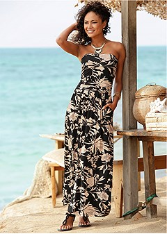 strapless maxi cover-up