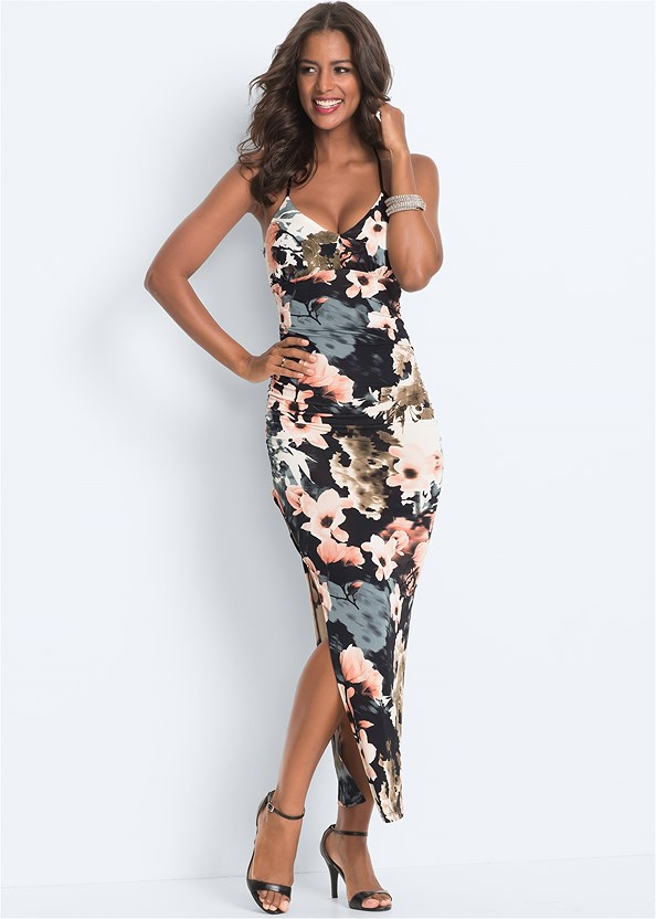 Floral Maxi Dress,High Heel Strappy Sandals
