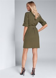 Full back view Pocket Detail Utility Dress