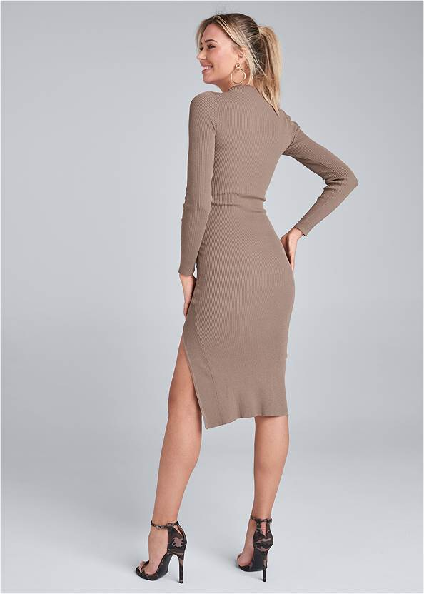 Full back view Ribbed Button Detail Dress