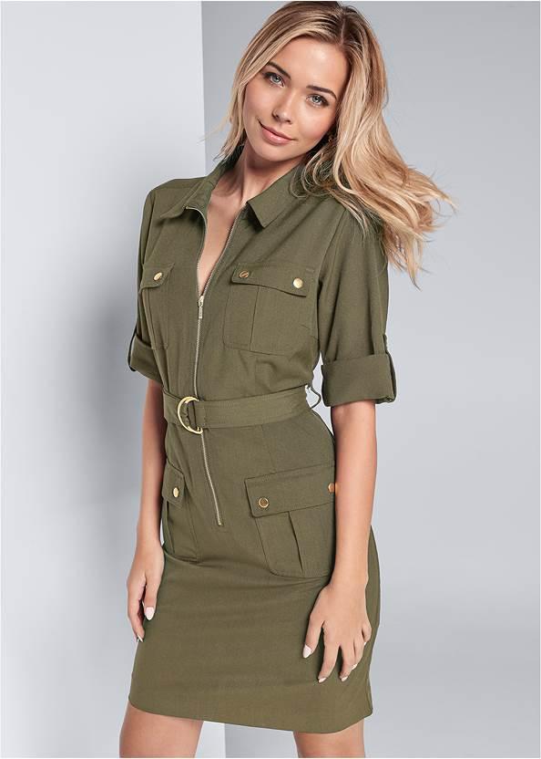 Pocket Detail Utility Dress,Unlined Bra Panty Set,Ankle Strap Heels,Pearl Hoop Earrings