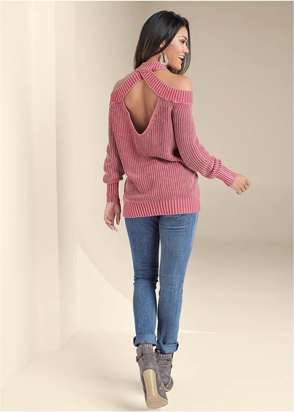 Back View Cold Shoulder Mock Neck Sweater