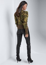 Back View Camo Print Puff Sleeve Sweater