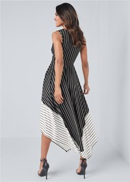 Full back view Striped Color Blocked Dress