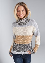 Front View Striped Marled Turtleneck