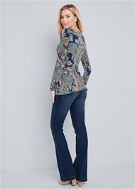 Back View Paisley Print Top