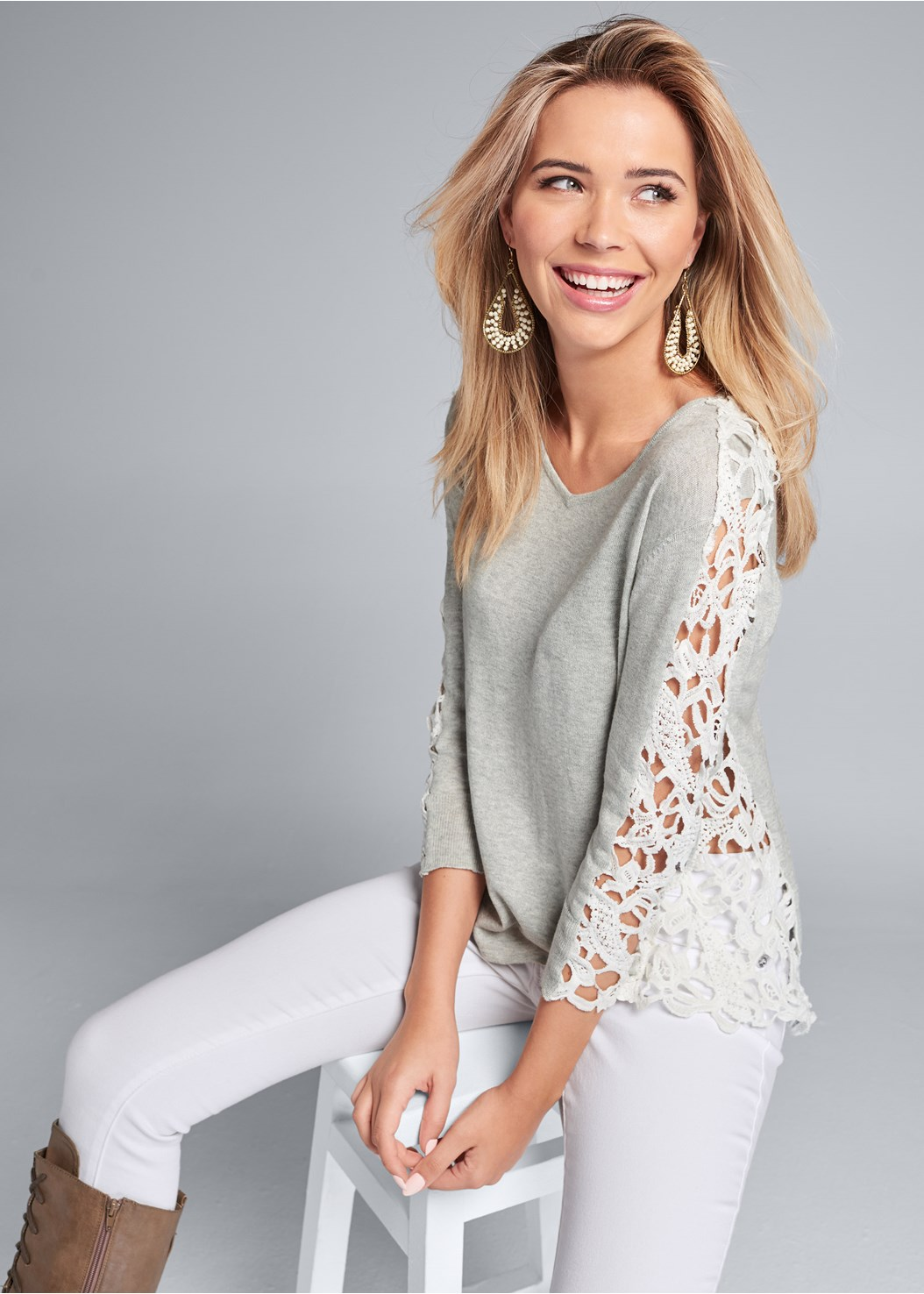 Lace Sleeve Top,Mid Rise Color Skinny Jeans,Lace Up Tall Boots,Beaded Drop Earrings