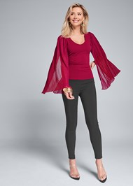 Full front view Pleated Sleeve Top