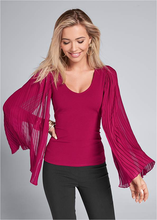 Pleated Sleeve Top,Mid Rise Slimming Stretch Jeggings