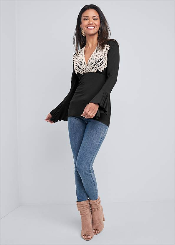 Alternate View Lace Detail Top