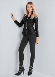 Full front view Ponte And Faux Leather Jacket