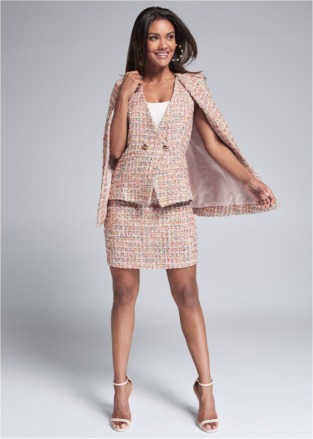 Tweed Skirt Suiting Set,Basic Cami Two Pack,Lace Cami,Ankle Strap Heels