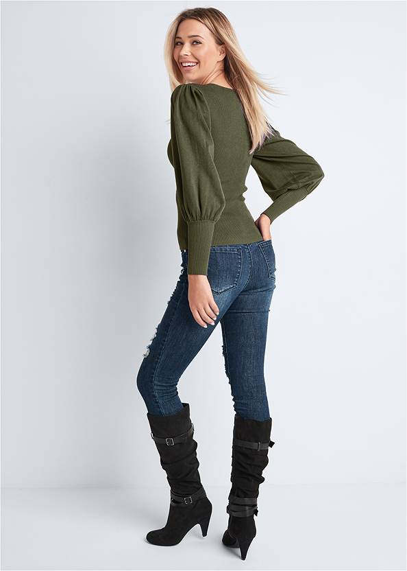 Back View Puff Sleeve Sweater