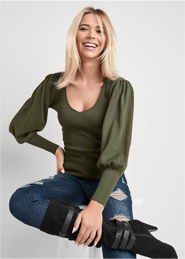 Puff Sleeve Sweater,Ripped Skinny Jeans,Mid Rise Slimming Stretch Jeggings